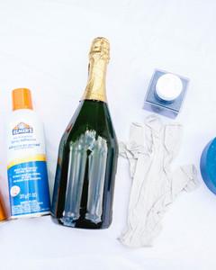 DIY glitter champagne bottle materials