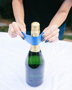 DIY glitter champagne bottle step 2