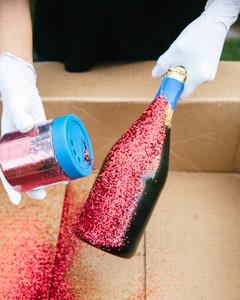 DIY glitter champagne bottle step 5