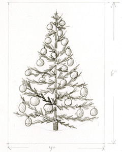 pencil drawing of christmas tree with bulbs