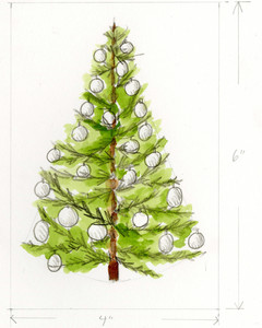 drawing of green christmas tree with bulbs