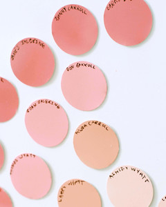 names written on round paint swatches for family tree