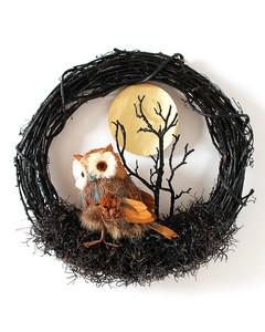 Halloween owl wreath