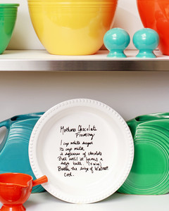 handwritten recipe on pie plate on shelf