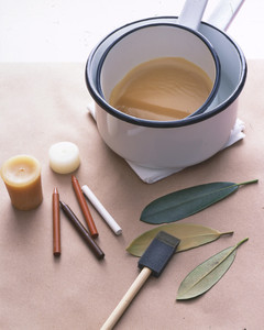 leaf-covered candles how-to