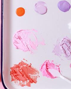 purple pink orange watercolor paints planter