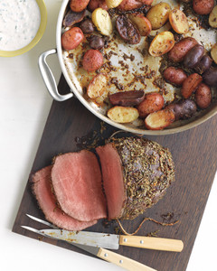 rosemary garlic roast beef potatoes horseradish sauce