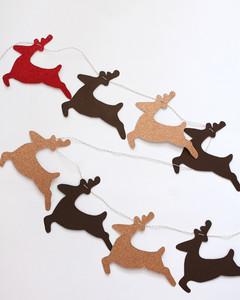 glittered paper reindeer garland