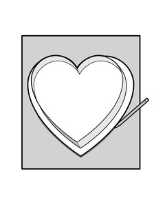 heart shaped box tracing paper illustration