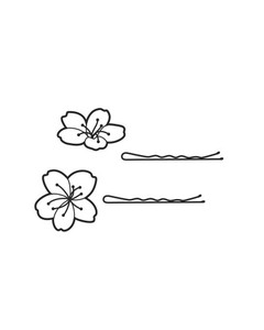 illustration of two flowers and hair pins