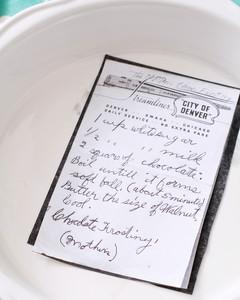 handwritten recipe on pie plate step 1