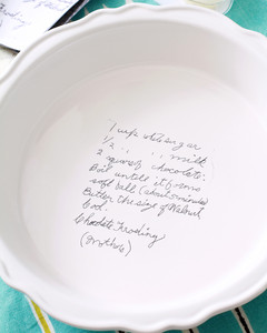 handwritten recipe on pie plate step 2