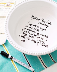 handwritten recipe on pie plate step 3