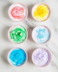 dyed easter eggs shaving cream step 1