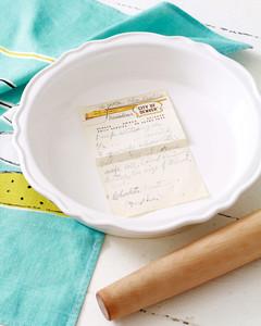 handwritten recipe on pie plate materials