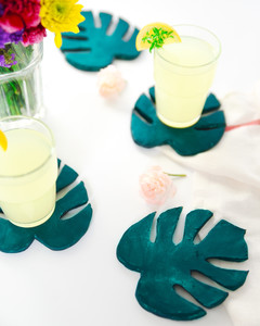 monstera leaf clay coasters