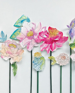 watercolor paper flower arrangement by Kristy Rice