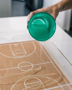 march madness basketball court serving tray step 8