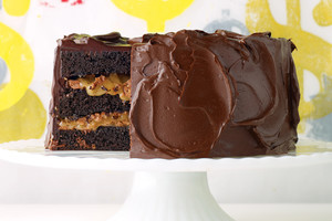 Chocolate Cake with Milk-Chocolate Crunch and Caramel Sauce