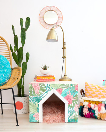 DIY dog house with fur rug inside