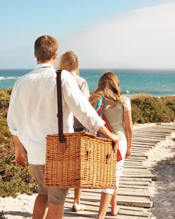 Family walking down to the beach for a picnic