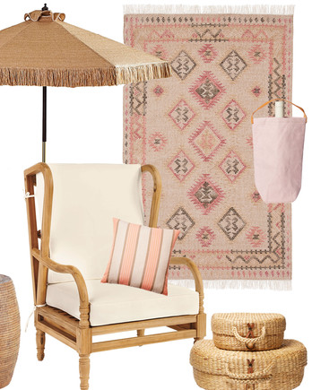 great finds chair umbrella rug table lantern pillow basket
