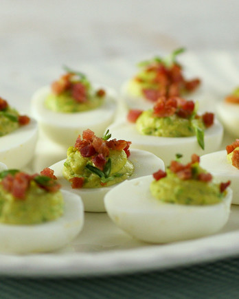 Deviled Eggs with Peas and Ham EDF