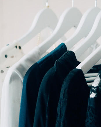 Clothing Rack with a Set of Hanging Clothes