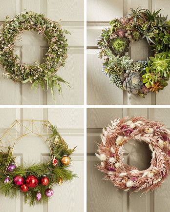 wreaths on the front door