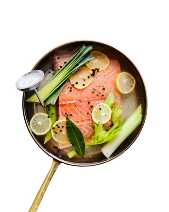 Cold-Poached Salmon in skillet with thermometer