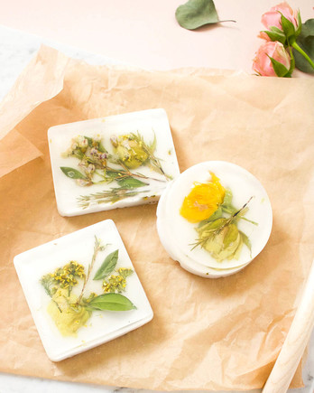 dried pressed flower soap bars