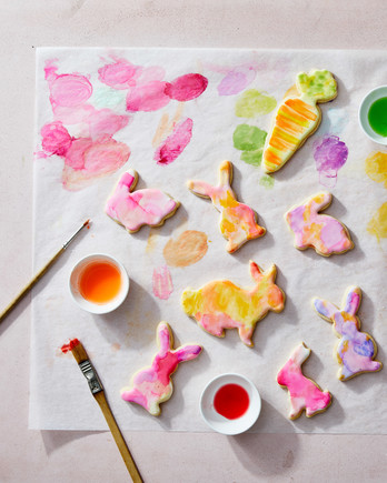 rabbit cookies pastel painted