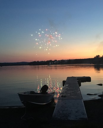Fourth of July fireworks on lake