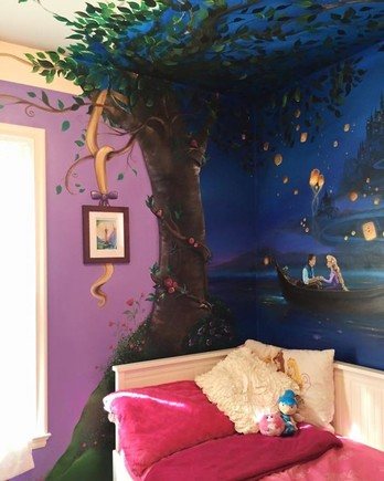"A painted mural depicting a scene from Disney's ""Tangled"""