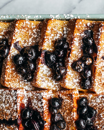 blintz baked french toast with blueberries