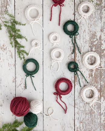 miniature crochet wreaths red green white
