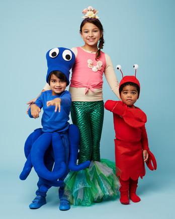 万圣节海底群孩子服装龙虾美人鱼章鱼