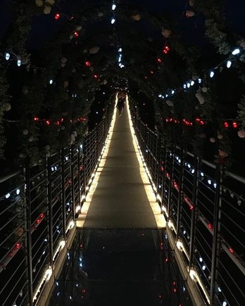 Gatlinburg SkyBridge decorated for Valentine's Day