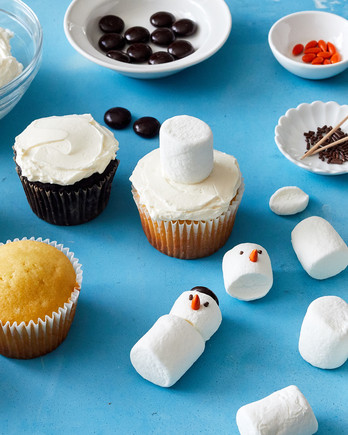 snowman cupcake making process and materials