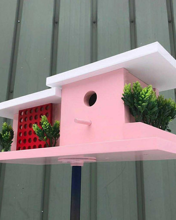 "pink birdhouse inspired by ""Golden Girls"" home"