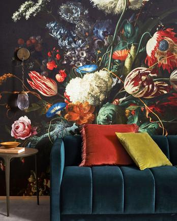 floral art print in room