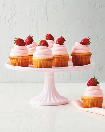 macys roseite cake stand with cupcakes
