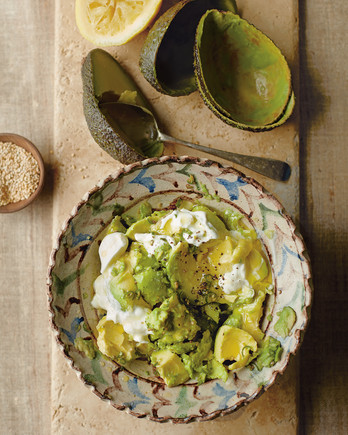 zaitoun gazan smashed avocados in decorative dish