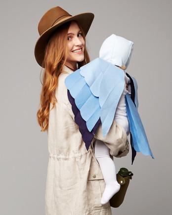 鸟类观察家蓝色鸟家族的万圣节服装