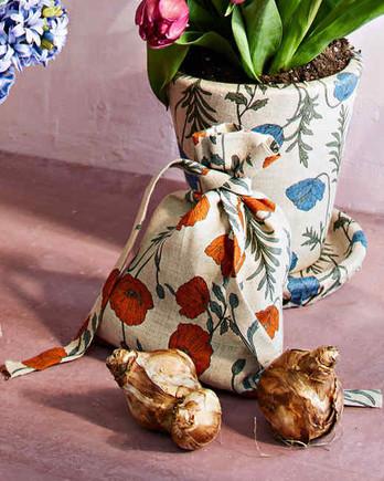 floral-print linen bulb bag