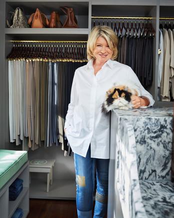 martha closet portrait with cat