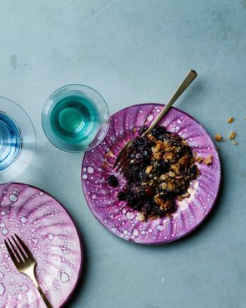 vegan blueberry crisp on plate