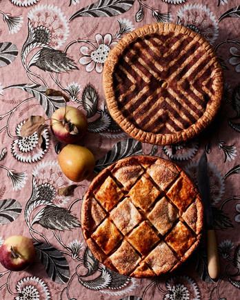 装饰肉桂糖模板双地壳苹果派