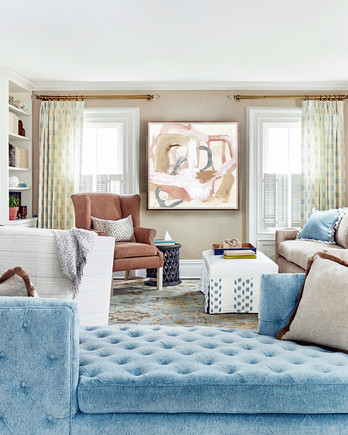 powder blue sofa in living room