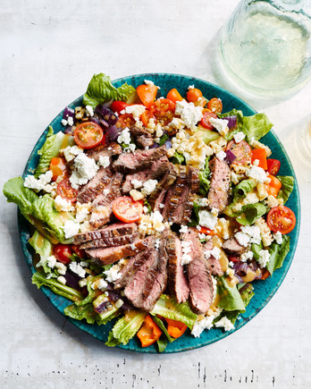 grilled skirt-steak salad topped with feta